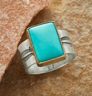 Large 925 Solid Sterling Silver El Dorado Turquoise Ring for Sale in Wichita, KS