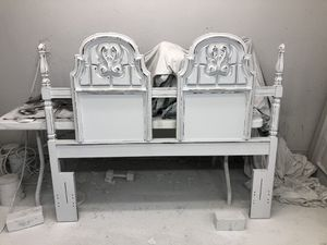 Farmhouse cottage shabby chic rustic vintage French provincial country queen full headboard and bed frame for Sale in Southlake, TX