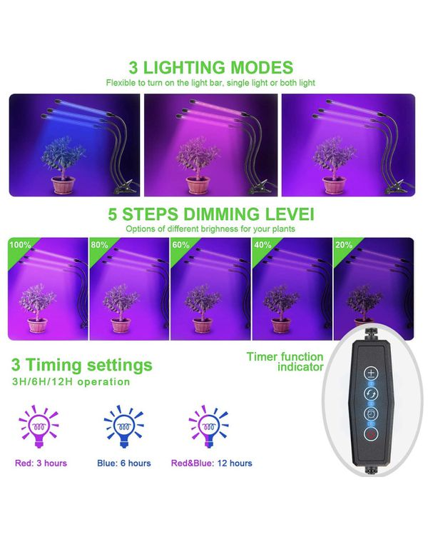 Grow Light, Ankace 2019 Upgraded Version 60W Tri Head Timing 60 LED 5 Dimmable Levels Plant Grow Lights for Indoor Plants with Red Blue Spectrum, Adj