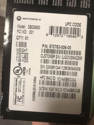 MOTOROLA MG7540 16x4 Cable Modem Plus AC1600 Dual Band Wi-Fi for Sale in Penn Valley, PA
