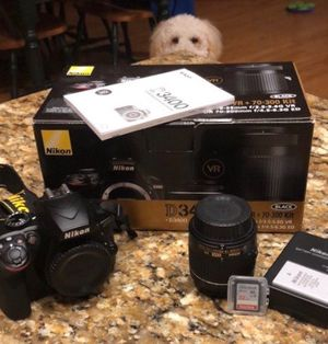 Nikon D3400 + 18-55 VR lens + Battery and charger + 32 GB SanDisk for Sale in Campton Hills, IL