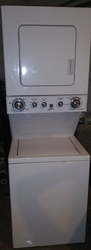 Practically New Kenmore stackable washer/dryer apartment size electric 110 volts for Sale in Houston, TX
