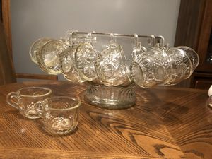 Glass punch bowl, cups and ladle. for Sale in Woodbridge, VA