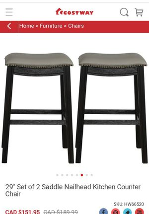 """Selling a brand new 29"""" Set of 2 Saddle Nailhead Kitchen Counter Chair the seats are gray for Sale in Bakersfield, CA"""