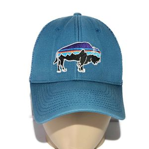 Patagonia Logo Trucker Cap Mesh Snapback Adjustable Hat Beige Blue for Sale in Lexington, SC