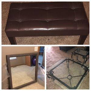 Mirror, bench, coffee table, end table for Sale in Hilliard, OH