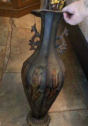 Metal tall floor vase with yellow flowers for Sale in Queen Creek, AZ