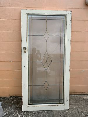 Beautiful Antique Lead Glass Shabby Chic Door - Could DIY into dinner or coffee table or wall decor for Sale in Seminole, FL