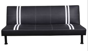Brand New Black Striped Leather Tufted Futon Free Delivery for Sale in Kent, WA
