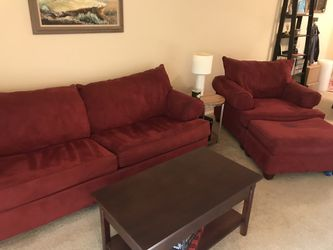 Red Sleeper sofa chair and ottoman for Sale in St. Louis,  MO