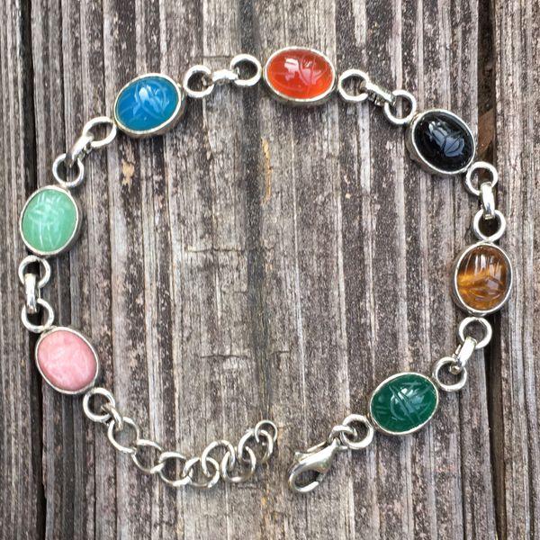 Vintage sterling stone scarab bracelet