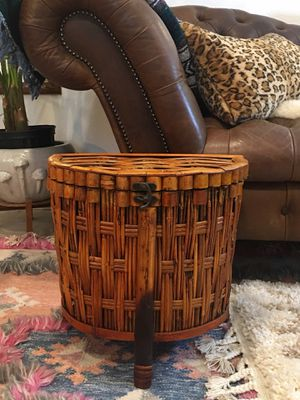 Bamboo Wicker Rattan Plant Stand With Storage Three Legged Side Table With Lid And Locking Clasp - Pick Up OC or LA for Sale in Aliso Viejo, CA