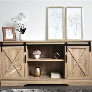Dark Walnut Living Room TV Stand Sliding Barn Door Design up to 65 inch TV for Sale in Brea, CA