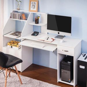 19.5 in. W 2 Drawers White Wood Multi-Functions Computer Desk with Cabinet for Sale in Lemont, IL