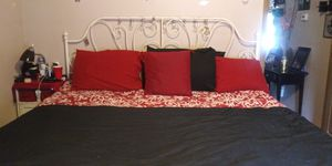 Beautiful White California king bed frame only. for Sale in Auburndale, FL