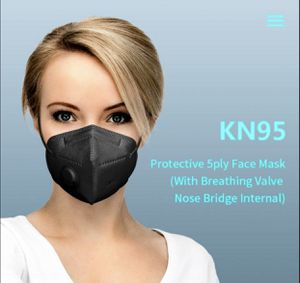 Pack x 5 Pieces - Black Breathable Face Masks KN95 Mask With Valve for Sale in Villages of Dorchester, MD