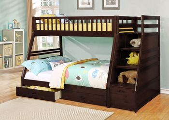 ESPRESSO FINISH TWIN OVER FULL SIZE BUNK BED FRAME STAIRCASE CHEST - CAMA LITERA MATRIMONIAL for Sale in Downey,  CA