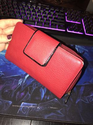 Red leather clutch wallet for Sale in Columbia, MD