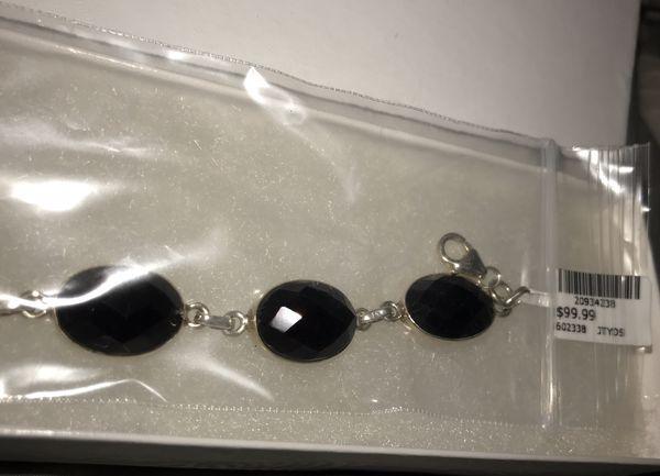 Sterling Silver Faceted Black Onyx Bracelet