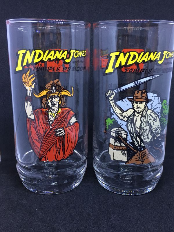 7up In-N-out Burger Indiana Jones and Temple of Doom movie glasses set