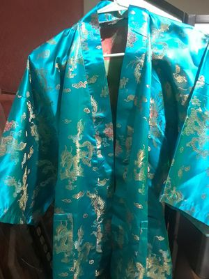 Authentic Silk Teal Gold Dragon Women's Ladies (Large) Long Kimono $44.00 cash only ( For serious buyers only) for Sale in Dallas, TX
