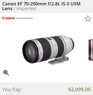 Canon EF 70-200mm f/2.8L IS II USM Lens for Sale in Queens, NY