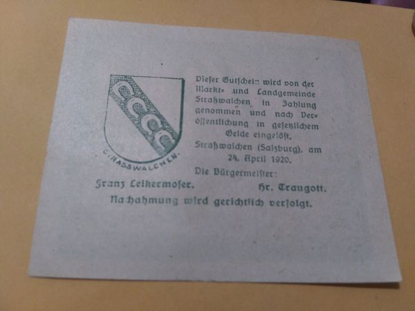 """1920s German """"Notgeld"""" note set....OVER 90 YRS OLD. Amazing price $12.99. Genuine ...great condition."""