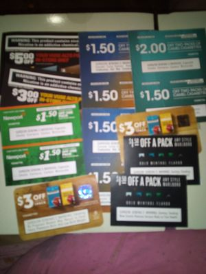 Marlboro camel newport skoal grizzly coupons for Sale in Chambersburg, PA