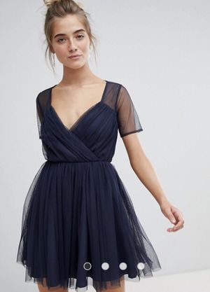 Asos Navy Blue Tulle Dress with Sheer sleeves for Sale in Frederick, MD
