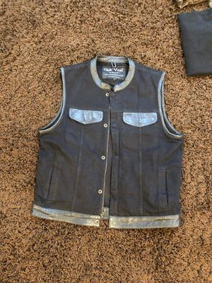 Men's Club Vest size large black canvas with leather trim details $25 for Sale in Bothell, WA