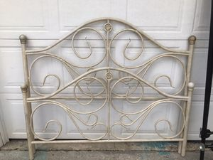 Tan Distressed Iron Queen Bed with Frame. for Sale in Bowie, MD