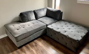 Grey chaise and ottoman couch for sale. Pet free no smoking household for Sale in Washington, DC