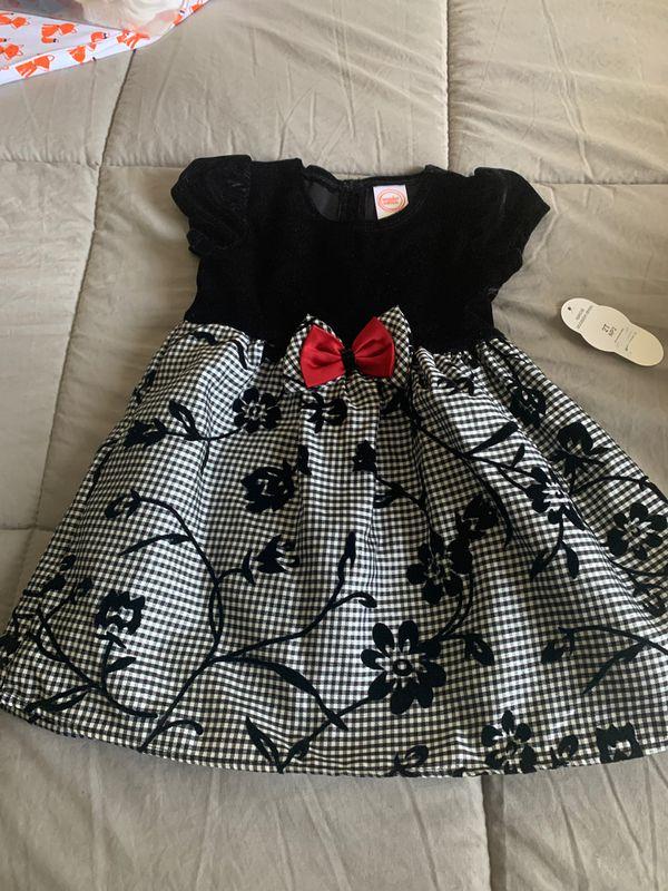 Black,white and red girls dress