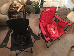 2 portable camping chairs (Coleman portable with 4 can cooler & Embark portable chair) for Sale in Seattle, WA