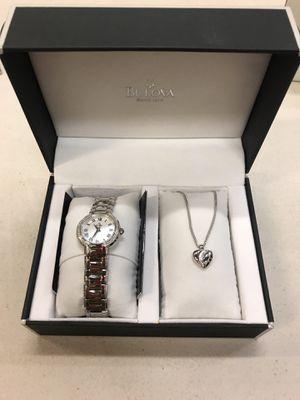 Bulova 95R159 Ladies Diamond Watch & Necklace Gift Set for Sale in Arlington, VA