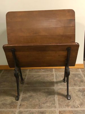 Antique School Desk with Cast Iron Legs for Sale in Vernon Hills, IL