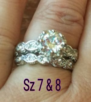 2 sterling silver bands. White cz diamond. Sz 7 or 8 available for Sale in Glen Burnie, MD