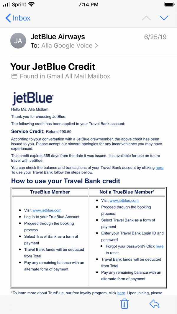 $190 JetBlue credit & my Gold account discount