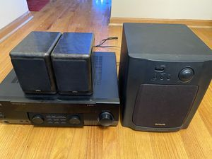 Kenwood 2.1 Audio receiver with Aiwa powered sub and jvc speakers for Sale in Aurora, IL