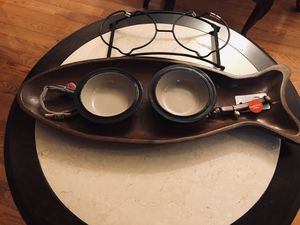Cat Bowls w/Wrought Iron Holder, Wooden Fish Shaped Tray, & 2 Brand New Collars. for Sale in Sudley Springs, VA