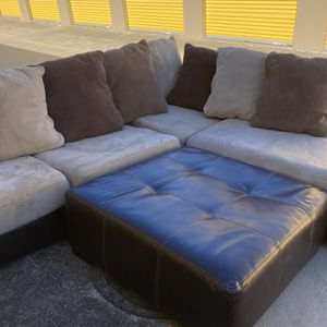 Leather Based Sectional With All Leather Ottoman Free Delivery! for Sale in Raleigh, NC