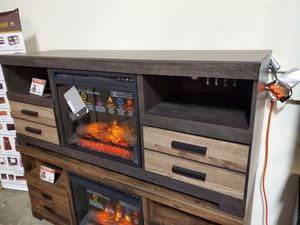 TV Stand with Fireplace Insert, Black & Grey for Sale in Santa Ana, CA