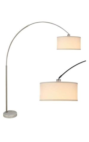 """SH LIGHTNING Brush Steel Arching Floor Lamp with White Marble Base Large White Drum Style Shade 81"""" Tall Fits in Living or Bedrooms (White) for Sale in San Bernardino, CA"""