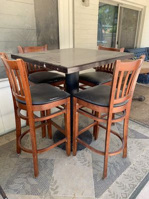Bar table and stools( metal stand frame/ real wooden table , restaurant quality) for Sale in Gilbert, AZ