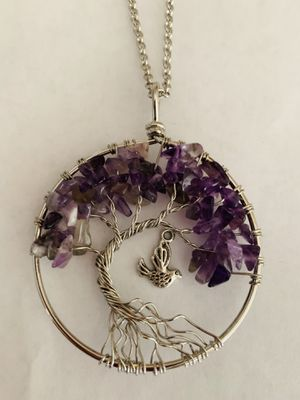 Jewelry Amethyst Copper Hummingbird Tree of Life Necklace Leather Cord or chain for Sale in Worcester, MA