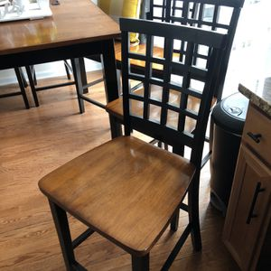 4 Black Chestnut Brown Wooden Chairs Counter Height for Sale in Centreville, VA