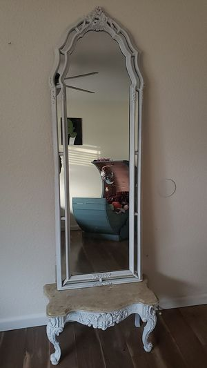 Beautiful mirror with marble top stand for Sale in Modesto, CA