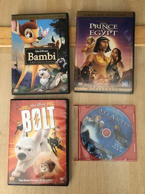 Four dvd movies - disney Bambi, boot, Atlantis, prince of Egypt for Sale in San Francisco, CA