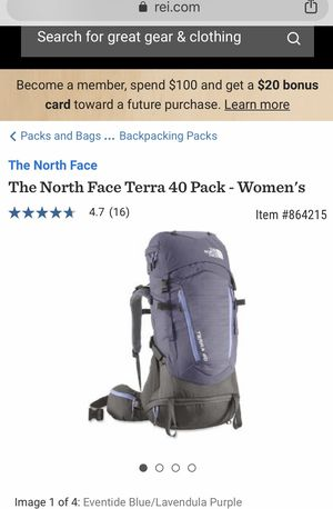 North Face ladies Terra 40 liter backpack and rain cover for Sale in Lakewood, CO