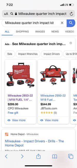 Milwaukee quarter inch impact driver brand new comes with charger 2850-20. Different sizes of battery available but extra money for Sale in Lynnwood, WA
